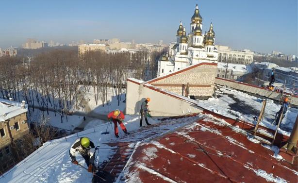 Приспособление для чистки снега с крыш видео
