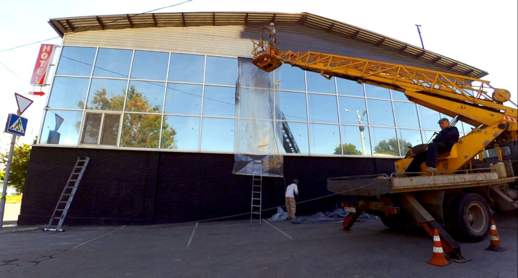 Покраска фасада из профнастила с помощью АВД
