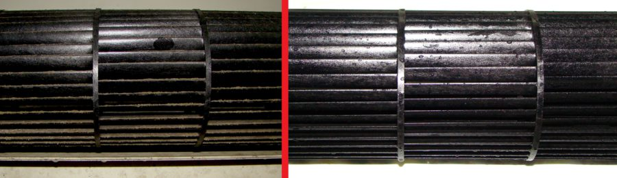 Air conditioning before and after cleaning