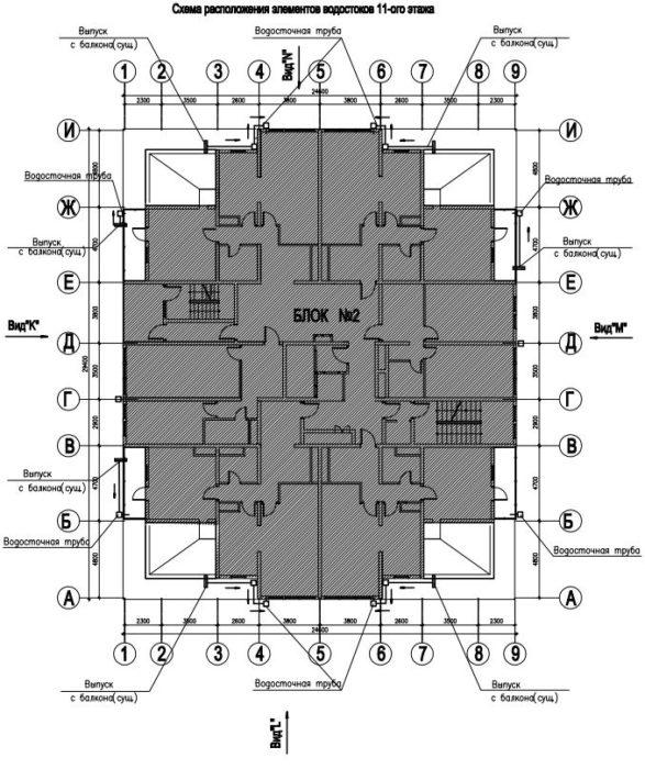 Схема расположения элементов водостоков 11 этажа