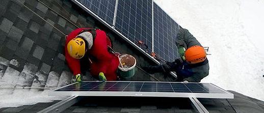 Процесс монтажа солнечных панелей