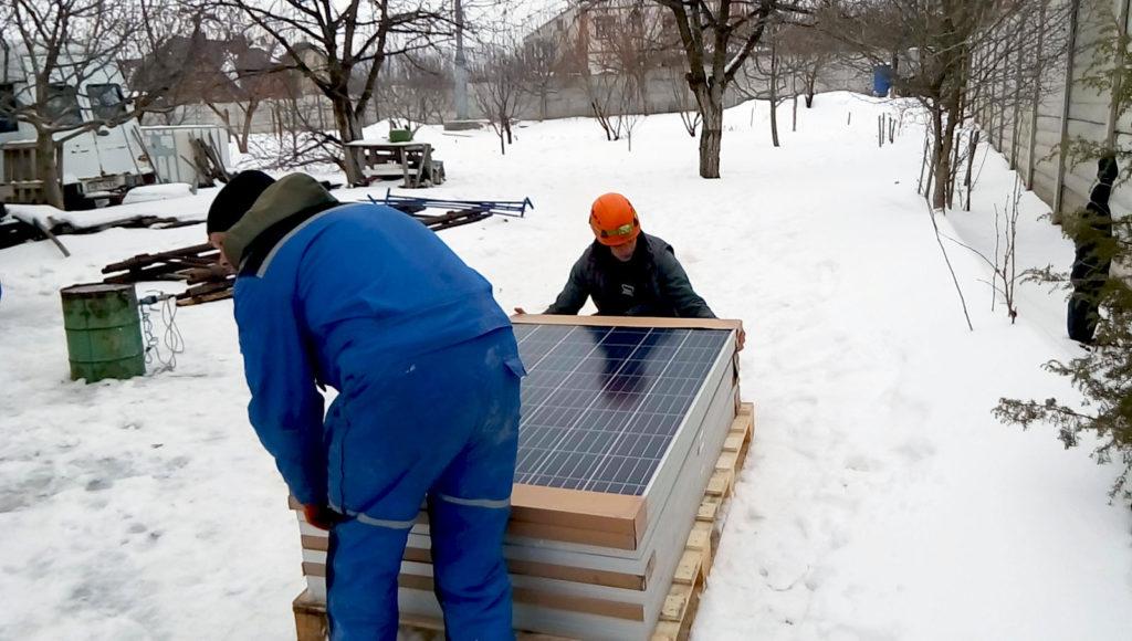Распаковка солнечных панелей
