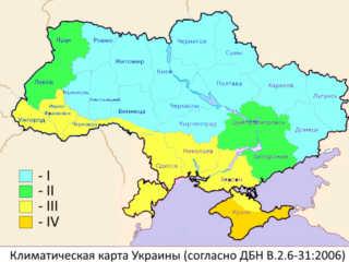 Климатическая карта Украины для рассчёта толщины утепления фасадов в Харькове